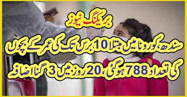 سندھ، کورونا میں مبتلا 10برس تک کی عمر کے بچوں کی تعداد 788ہو گئی، 20روز میں 3گنا اضافہ