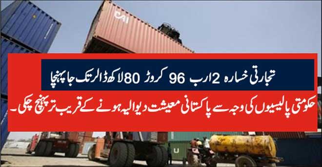 تجارتی خسارہ 2 ارب 96 کروڑ 80 لاکھ ڈالر تک جا پہنچا حکومتی پالیسیوں کی وجہ سے پاکستانی معیشت دیوالیہ ہونے کے قریب تر پہنچ چکی