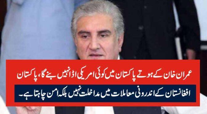 عمران خان کے ہوتے پاکستان میں کوئی امریکی اڈا نہیں بنے گا، پاکستان افغانستان کے اندرونی معاملات میں مداخلت نہیں بلکہ امن چاہتا ہے۔