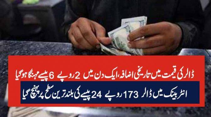 ڈالر کی قیمت میں تاریخی اضافہ، ایک دن میں 2 روپے 6 پیسے مہنگا ہو گیا انٹر بینک میں ڈالر 173 روپے 24 پیسے کی بلند ترین سطح پر پہنچ گیا